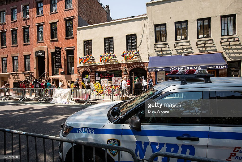 A New York City Police Department car sits outside the Stonewall Inn on June 24, 2016 in New York City. President Barack Obama designated Stonewall Inn and approximately 7.7 acres surrounding it as the first national monument dedicated 'to tell the story of the struggle for LGBT rights.' The tavern is considered the birthplace of the modern gay rights movement, where patrons fought back against police persecution in 1969.