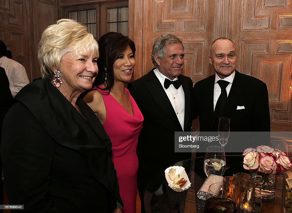 New York City Police Department Commissioner Raymond Kelly, from right, Leslie Moonves, president and chief executive officer of CBS Corp., television host Julie Chen, and a guest attend the Bloomberg Vanity Fair White House Correspondents' Association (WHCA) dinner afterparty in Washington, D.C., U.S., on Saturday, April 27, 2013. The 99th annual dinner raises money for WHCA scholarships and honors the recipients of the organization's journalism awards. Photographer: Scott Eells/Bloomberg via Getty Images