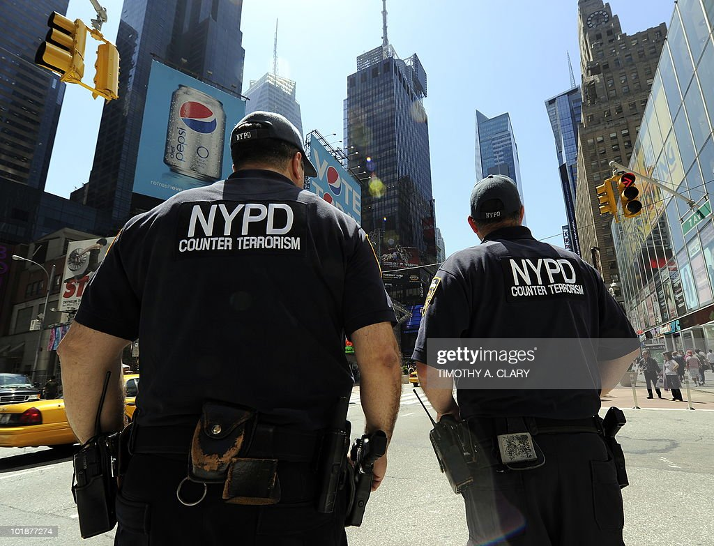 New York City Police Department Counter Terrorism Unit officers patrol in Times Square on May 5 2010 US officials Wednesday ratcheted up security in...
