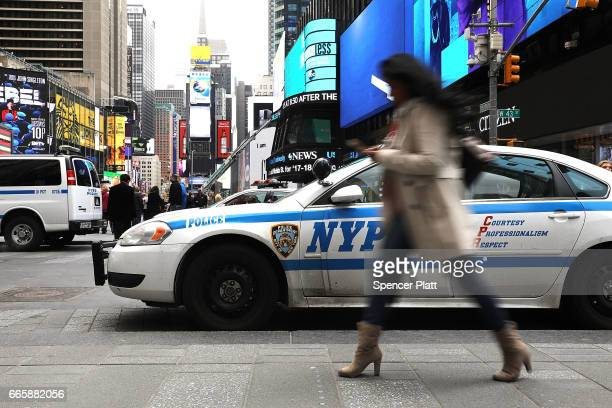 New York City Police keep a presence in Times Square following political developments around the world on April 7 2017 in New York City An incident...