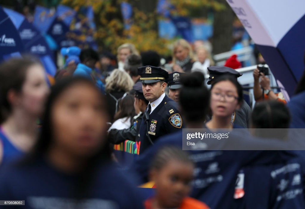 A New York City police officer looks on during the 2017 TCS New York City Marathon in Central Park on November 5, 2017 in New York City.