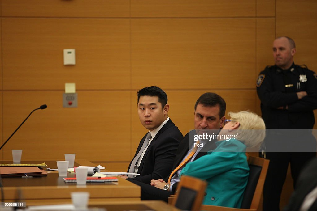 New York City police officer <a gi-track='captionPersonalityLinkClicked' href=/galleries/search?phrase=Peter+Liang&family=editorial&specificpeople=13921928 ng-click='$event.stopPropagation()'>Peter Liang</a> sits in court as testimony is read back for jurors during deliberations in his trial in Brooklyn Supreme Court February 10, 2016 in the Brooklyn borough of New York City. Liang is on trial for the shooting death of Akai Gurley in the stairwell of a housing project in November 2014.