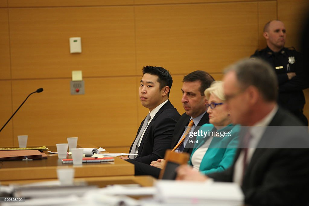New York City police officer Peter Liang sits in court as testimony is read back for jurors during deliberations in his trial in Brooklyn Supreme Court February 10, 2016 in the Brooklyn borough of New York City. Liang is on trial for the shooting death of Akai Gurley in the stairwell of a housing project in November 2014.