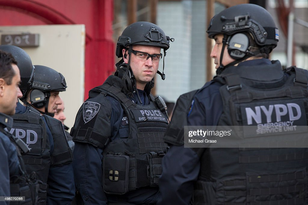 New York City Police officers following an active shooter drill on Kenmare St on November 22 2015 in New York City The drill in cooperation with the...