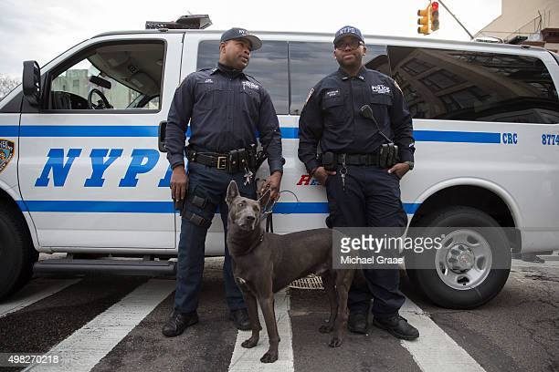 New York City Police officers from the K9 Unit during an active shooter drill on Kenmare St on November 22 2015 in New York City The drill in...