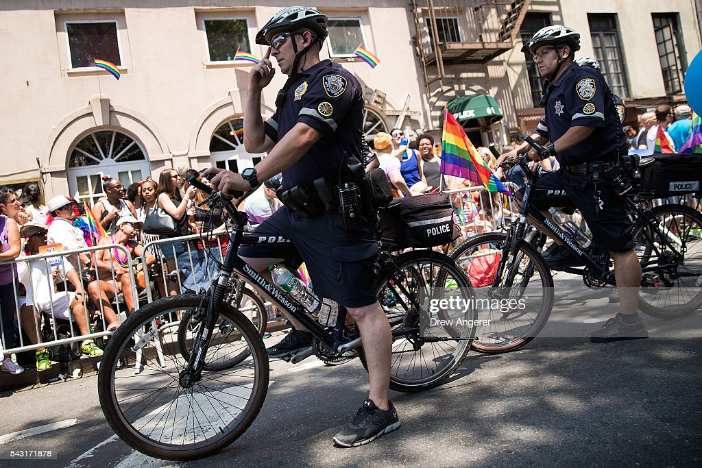 New York City Police officers patrol on bikes during the New York City Pride March, June 26, 2016 in New York City. This year was the 46th Pride march in New York City.