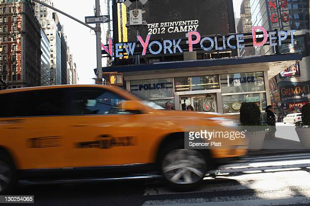 New York City Police precinct is seen in Times Square on October 25 2011 in New York City Raymond Kelly Police Commissioner of the City of New York...
