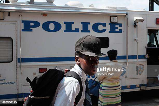 New York City Police vehicle seen parked outside of the 44th Precinct in the Bronx on June 10 2015 in New York City In an effort to combat the rise...