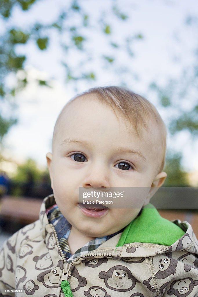USA, New York City, portrait of baby boy (0-1 years) : Stock Photo