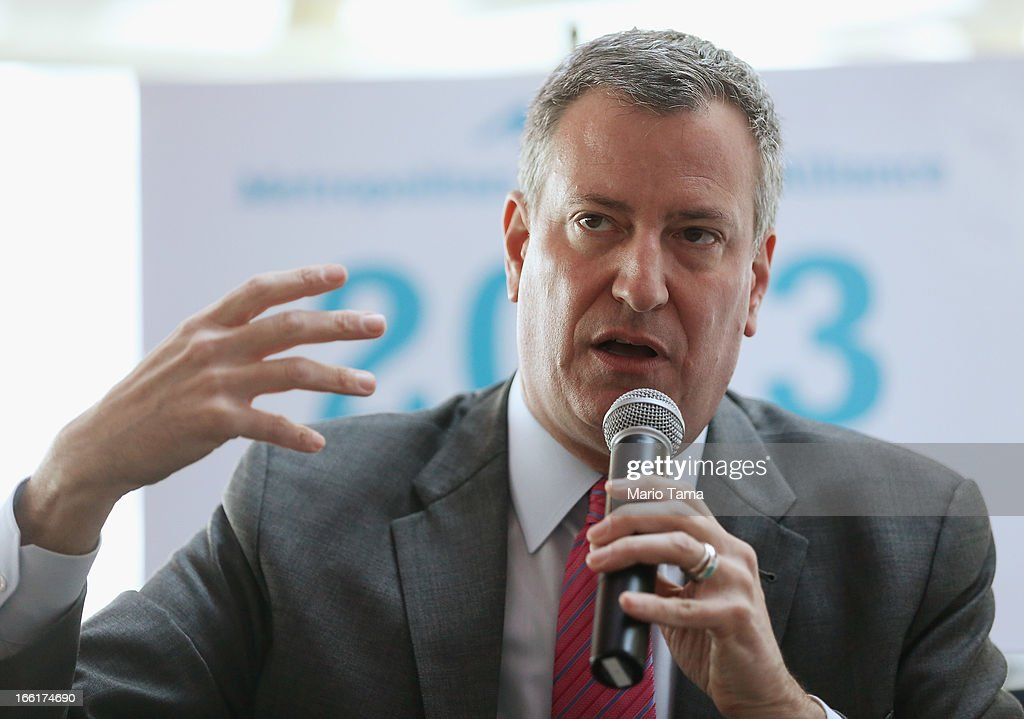 New York City Public Advocate and mayoral candidate Bill de Blasio speaks at a political forum on a boat in Manhattan on April 9, 2013 in New York City. Six mayoral candidates spoke at the Metropolitan Waterfront Alliance's 2013 Waterfront Conference ahead of the November 2013 mayoral election.