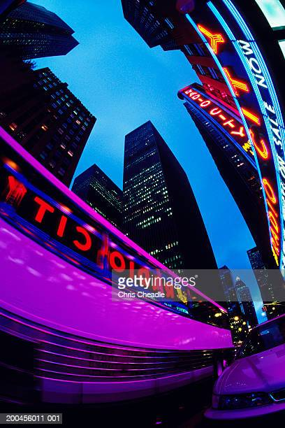 USA, New York City, Radio City neon sign, low angle view, dusk