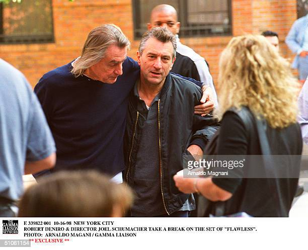 New York City Robert Deniro Director Joel Schumacher Take A Break On The Set Of 'Flawless'