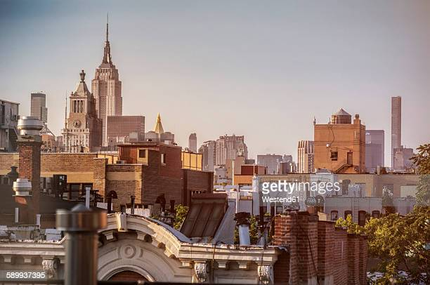 USA, New York City, Rooftops of East Village