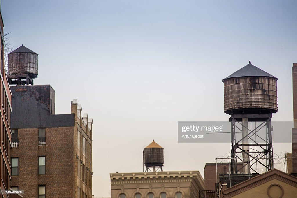 New York city rooftops with water tanks