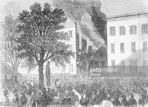 Scene In Thirty Second Street Between Sixth And Seventh Avenues Negro Hanged By The Mob And Houses Burned July 15 1863