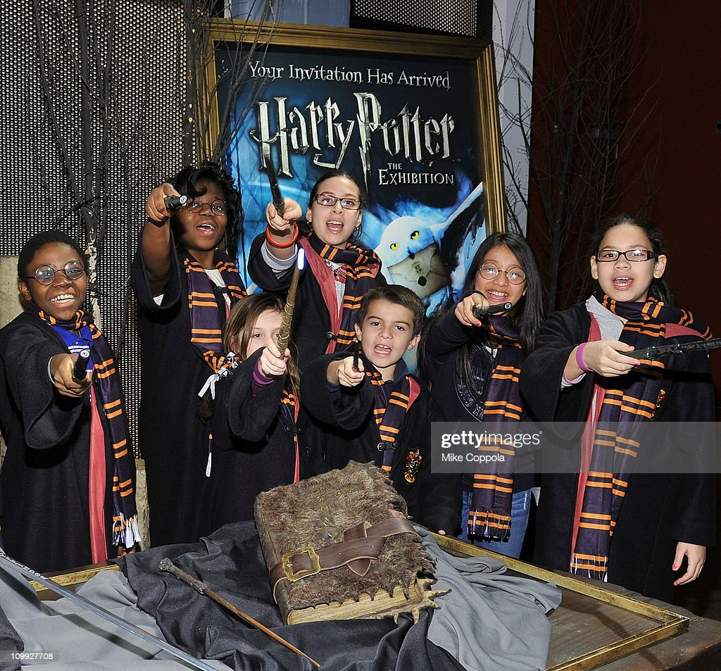 New York City school children attend a preview of Harry Potter: The Exhibition, making its final north american tour stop at Discovery Times Square on March 10, 2011 in New York City. The exhibit opens April 5th.