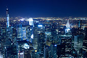 New York City skyline aerial view at night