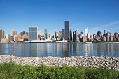 USA, New York City, Skyline against blue sky