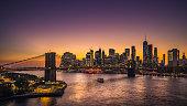 Beautiful sunset over Lower Manhattan.