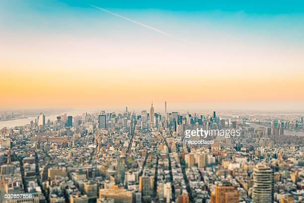 """New York la ville et l """" Empire State Building au coucher de soleil"""