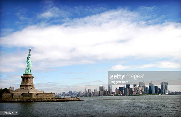New York City Skyline from a distance with Lady Liberty