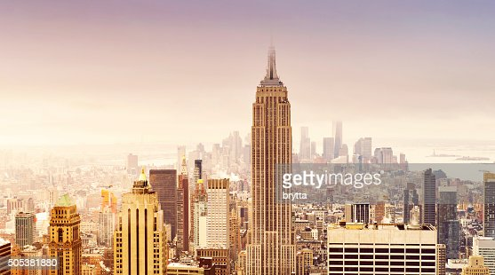 New York City skyline in soft sepia colors