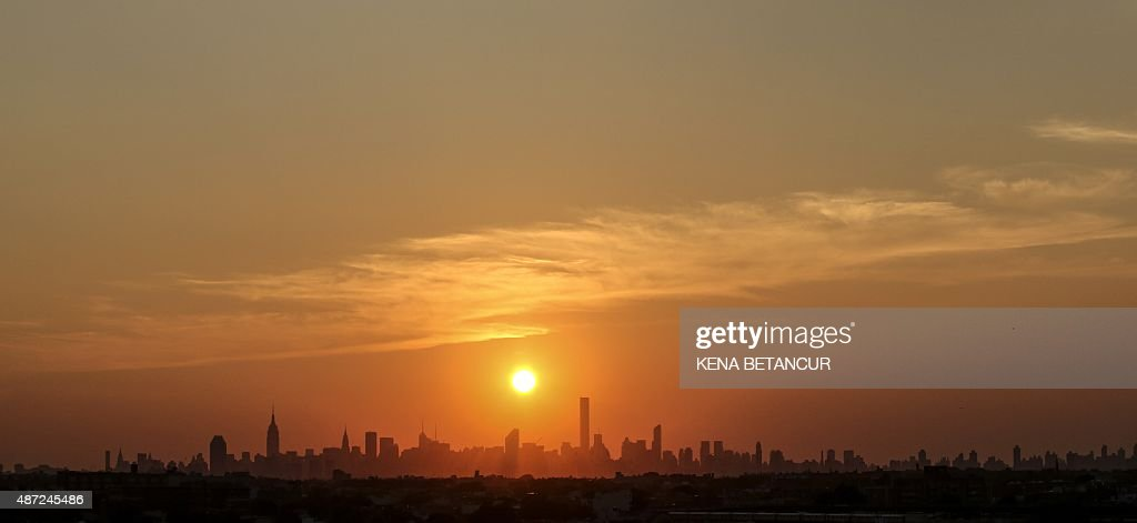 New York City skyline it's seen from the USTA Billie Jean King National Tennis Center the venue for the 2015 US Open on September 7 2015 in New York...