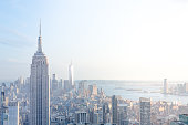 The New York City Skyline showing Midtown Manhattan and the Empire State Building along with the Freedom Tower of the World Trade Center in the Financial District of Downtown.