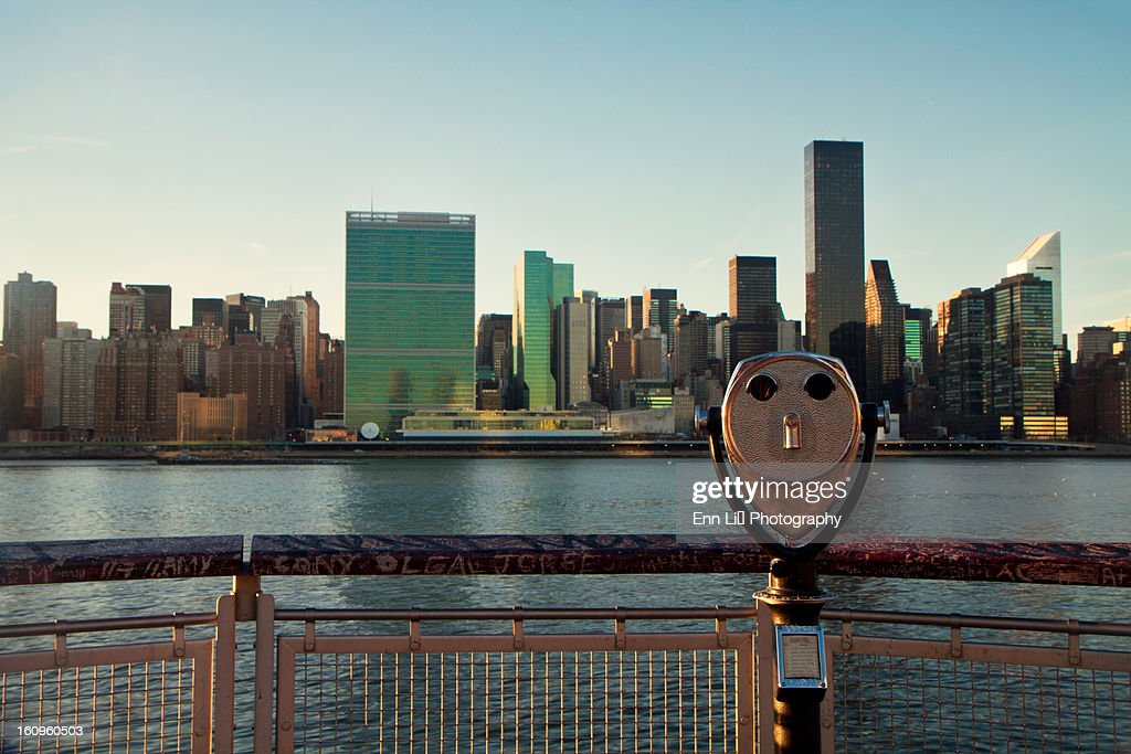New York City skyline with United Nations building