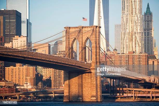 New York City skyscrapers and bridge