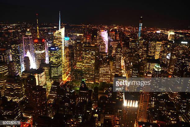 New York City skyscrapers at night