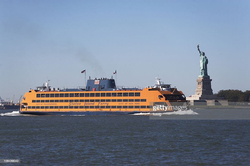 USA, New York City, Staten Island Ferry with Statue of Liberty