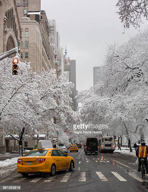 New York City street in the snow