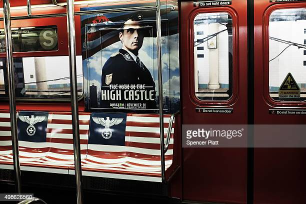 New York City subway car is covered in Nazi imagery to promote the new Amazon television series 'The Man in the High Castle' on November 24 2015 in...