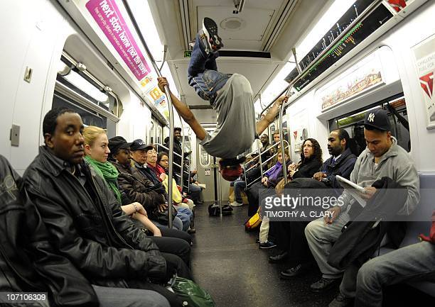New York City Subway dancer Marcus Walden performs with other members of his dance crew November 23 2010 The dance crew of Donte Steele Tamiek Steele...