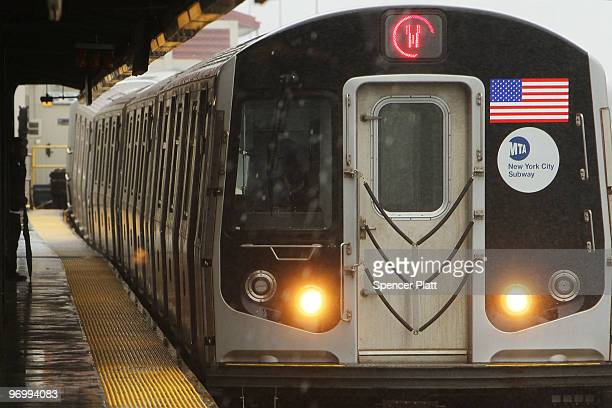 New York City Subway train pulls up to a station on February 23 2010 in New York City Najibullah Zazi a former airport shuttle driver pleaded guilty...