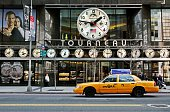 taxi Yellow Cab in front of the Tourneau shop in Manhattan