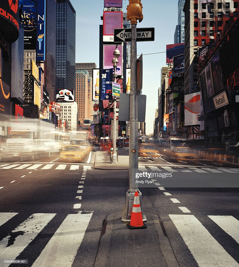 USA, New York City, Times Square, traffic (long exposure)