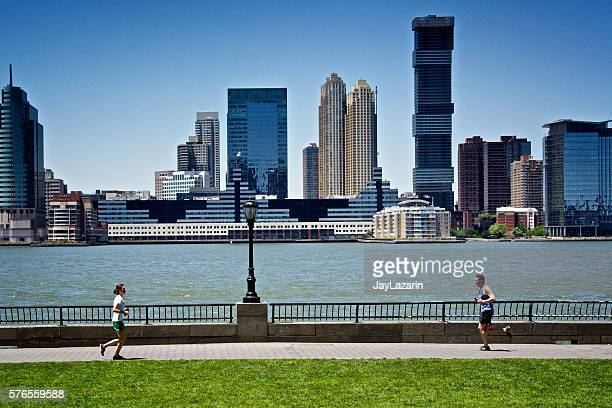 New York City Urban Life, Runners along Hudson River, Manhattan