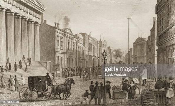 New York City Wall Street viewed from the corner of Broad Street circa 1867
