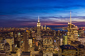USA, New York, New York City. Panoramic view with skyscrapers at sunset