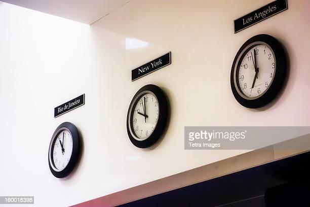 USA, New York City, World time zone clocks