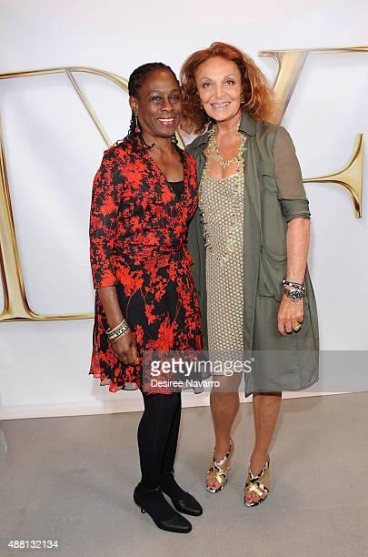 New York City's First Lady Chirlane McCray and fashion designer Diane Von Furstenberg pose backstage during Diane Von Furstenberg Spring 2016 New...