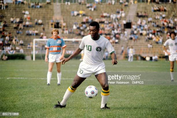 New York Cosmos' Pele in action on his debut for the NASL team