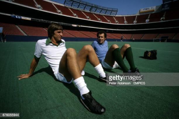 New York Cosmos players Johan Cruyff and Franz Beckenbauer during training for their Soccer Bowl match against Tampa Bay Rowdies