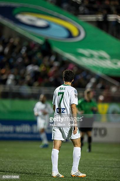 New York Cosmos Raul with the New York Cosmos logo in the background during the Soccer 2015 NASL Championship Match between New York Cosmos and...