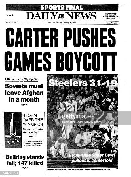 New York Daily News front page Monday January 21 CARTER PUSHES GAMES BOYCOTT