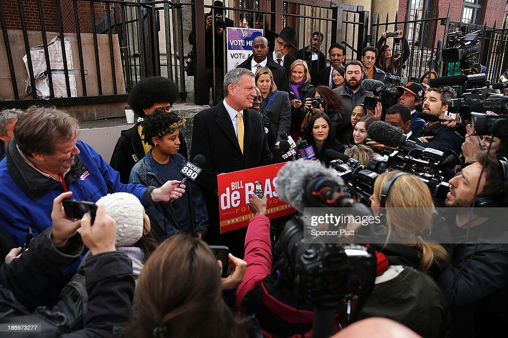 New York Democratic mayoral candidate Bill de Blasio speaks to the media after voting at a public library branch on Election Day on November 5, 2013 in the Brooklyn borough of New York City. De Blasio has a double digit lead over his challenger Republican mayoral candidate Joe Lhota