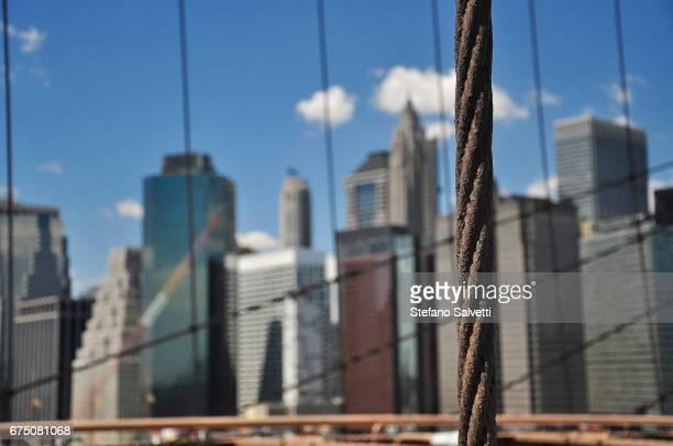 USA, New York, detail steel cable Brooklyn bridge