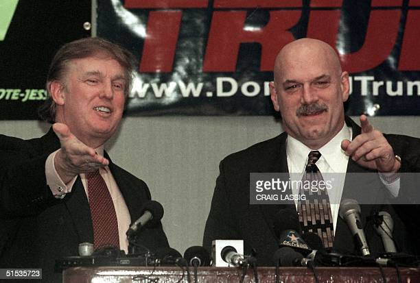 New York developer and potential Reform Party presidential candidate Donald Trump and Minnesota Govenor Jesse Ventura take questions at a news...